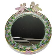 Antique Meissen Cherub Figurine Figural Floral Wreath Decorated Porcelain Mirror 19c