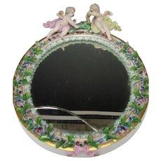 Antique Meissen Cherub Figurine Figural Floral Wreath Decorated Porcelain Mirror 19c