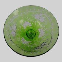 Art Nouveau Webb Green Cut to Clear Engraved Wine Glass Stem