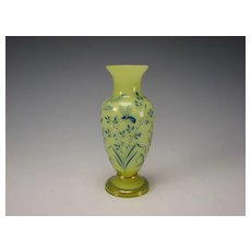 Antique French Galle Hand Painted Enamel Citron Vaseline Glass Vase
