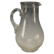 c1875 Continental Engraved Carved Glass Floral Water Pitcher Jug