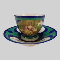Antique 18c Vincennes Sevres Style Hand Painted Porcelain Cup and Saucer