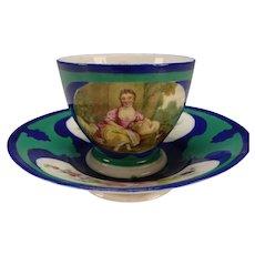 Antique 18c Sevres Style Paris Hand Painted Paris Porcelain Cup and Saucer