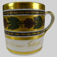 Antique 18c/19c German Porcelain GIlt Enamel Cup