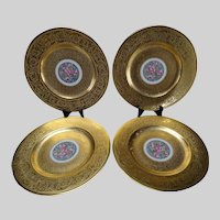 4 AOG Hutschenreuther Stouffer Studio Gold Decorated Cabinet Plates