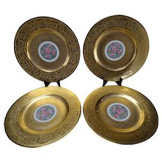 4 AOG Hutschenreuter Stouffer Studio Gold Decorated Plates