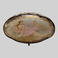 Art Nouveau French Limoges Porcelain Jewelry Trinket Casket Box