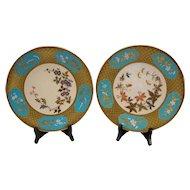 Royal Worcester English China Aesthetic Enameled Hand Painted Porcelain Plates