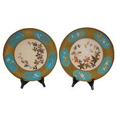 Fantastic Royal Worcester English China Aesthetic Enameled Hand Painted Porcelain Plates