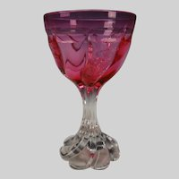 Antique Thomas Webb Cranberry to Clear Rock Crystal Glass Twisted Stem Wine