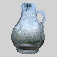 Antique English or Bohemian Aesthetic Floral Engraved Glass Pitcher Jug