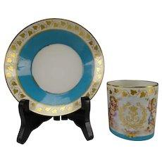 Antique Sevres Style Porcelain Angels Blue Celeste Cup Saucer AF
