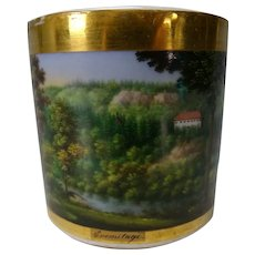 Antique German KPM or Dresden Porcelain Hand Painted Scenic Cup c1830
