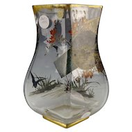 Great Baccarat Hand Painted Enamel Japonisme Frogs Fish Glass Vase