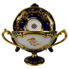 Antique Dresden Fine Hand Painted Porcelain Soup Bowl and Plate