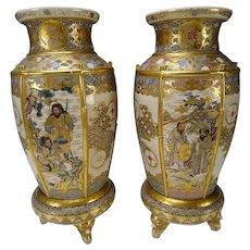 Fantastic Meiji Japanese Satsuma Pottery Vases on Stands 19c FINE Pair