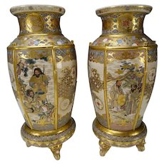 Fantastic Meiji Japanese Satsuma Pottery Vases on Stands 19c FINE Pair
