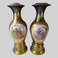 Antique Old Paris Sevres Style Hand Painted Porcelain Lamps
