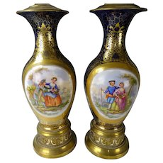 Antique Old Paris Sevres Style Hand Painted Porcelain Lamps