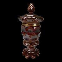 Antique Bohemian Egermann Teplitz Spa Pokal Ruby Red Glass Vase c1845