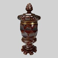Antique Bohemian Egermann Teplitz Spa Pokal Ruby Red Glass Vase c1845