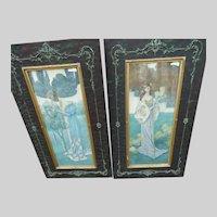 Pair Antique Heinrich Lefler Austrian Jugendstil Lady Prints