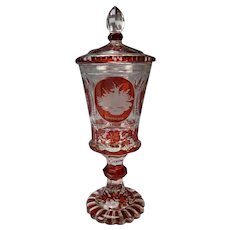 Antique Bohemian Engraved Glass Lidded Pokal Vase c1850
