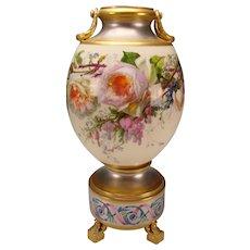 Antique Old Paris Porcelain Platinum Gilt French Vase Signed P Hartwig