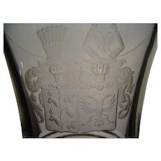 Great 19c Armorial Bohemian Cut Engraved Glass Lidded Pokal