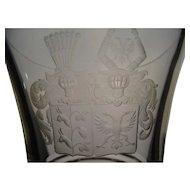 Great 19c Armorial Bohemian Cut Engraved Glass Lidded Pokal