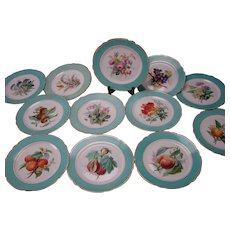 Antique LeRosey French Porcelain Old Paris China Aesthetic Plate SET of 12