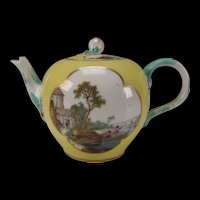 Fantastic 18c Meissen German Porcelain Hand Painted Bay Scene Teapot