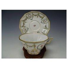 Antique Nymphenburg German Porcelain Cup and Saucer