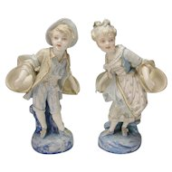 """Victorian French Vion and Baury Bisque Porcelain Child Statue Figurine Pair 13"""""""