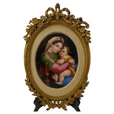 Fantastic Antique Oil Painting on Porcelain French Ormolu Frame 19c