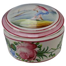 Antique Veuve Perrin French Hand Painted Faience Jewelry Jar Box