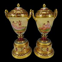 Antique Royal Vienna Hand Painted Nude Vases/Urns