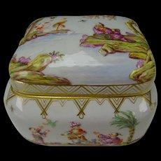 Antique Meissen Porcelain Raised Chinoiserie Dresser Box AF