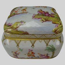 Antique Meissen Porcelain Raised Chinoiserie Dresser Box AF