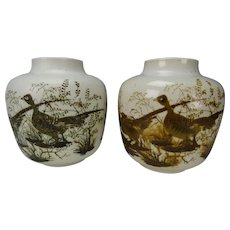Mid Century Royal Copenhagen Nils Thorssen Pair of Diana Pheasants Pottery Vases