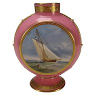 Antique Minton China Nautical Hand Painted Double Sided Sailing Ships c1890