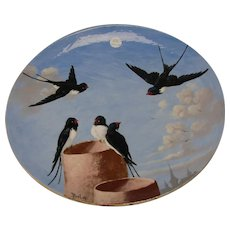 GREAT Antique Clement Massier French Pottery Hand Painted Enamel Charger Plate c1900