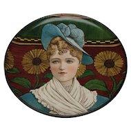 Victorian Minton Portrait Hand Painted Pottery Charger Plaque