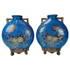 Antique 19c Royal Worcester Aesthetic Pillow/Moon Vases Pair