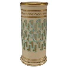 RARE Christopher Dresser Minton China Reticulated Porcelain Hand Gilt Vase