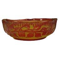 Antique English Stevens Williams Cranberry Cased on Citrine Cut Cameo Glass Bowl