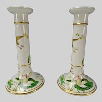 Antique Minton Porcelain China Aesthetic Candlesticks c1870