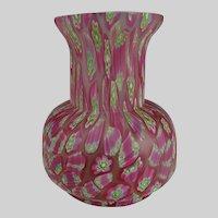 Vintage Murano Caned Millefiori Art Glass Vase