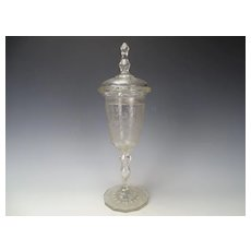 """Fine 19c Antique Bohemian Engraved Fox and Stag Hunting Glass Pokal Vase 14"""""""