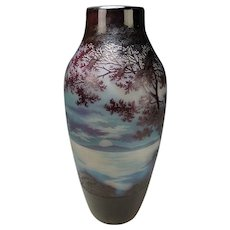 D'Artgental French Carved Amethyst Cameo 3 Color Glass Vase